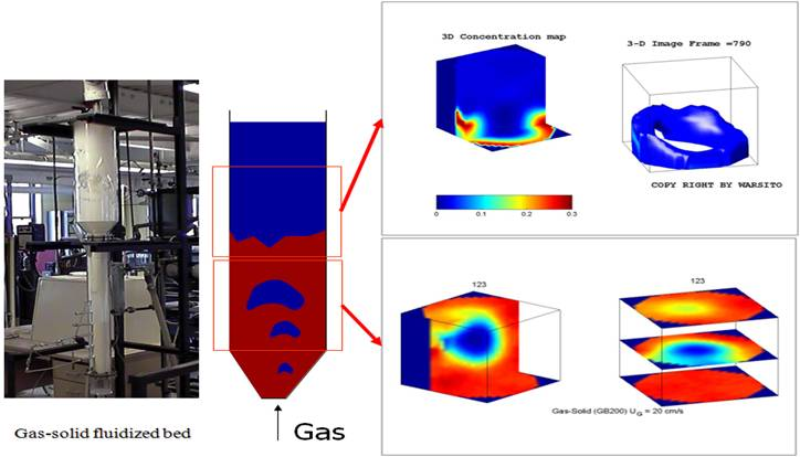 Real time volumetric imaging of gas-solids fluidized beds using ECVT